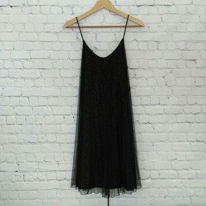 7 for all Mankind Silk Slip Dress Black Gold Small